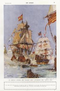 Scene from the Spanish Armada, 1588 by Charles Edward Dixon