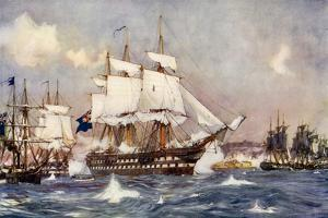 The Bombardment of St Jean D'Acre by the British and Allied Squadrons by Charles Edward Dixon