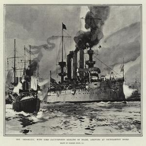 The Brooklyn, with Lord Pauncefote's Remains on Board, Arriving at Southampton Docks by Charles Edward Dixon