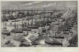 The Great Coronation Naval Display, Bird'S-Eye View of the Fleet Assembled at Spithead by Charles Edward Dixon