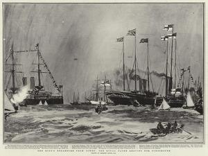 The King's Departure from Cowes, the Royal Yacht Leaving for Portsmouth by Charles Edward Dixon