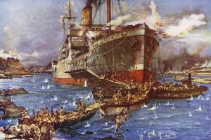 The Landing of Troops from the River Clyde at V Beach, Gallipoli Peninsula, Turkey, 25 April 1915 by Charles Edward Dixon
