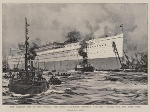 The Largest Ship in the World, the Newly Launched Steamer Oceanic Afloat for the First Time by Charles Edward Dixon
