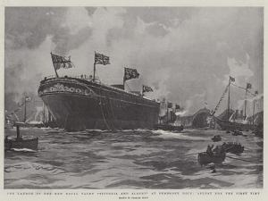The Launch of the New Royal Yacht Victoria and Albert at Pembroke Dock, Afloat for the First Time by Charles Edward Dixon
