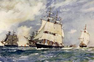 The Sailing Training Squadron, 1899 by Charles Edward Dixon