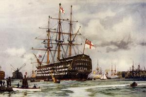 """The """"Victory"""" at Portsmouth, Came into Harbour from Last Commission Nov, 1812 by Charles Edward Dixon"""