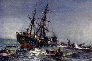 """The Wreck of the """"Birkenhead,"""" 1852 by Charles Edward Dixon"""