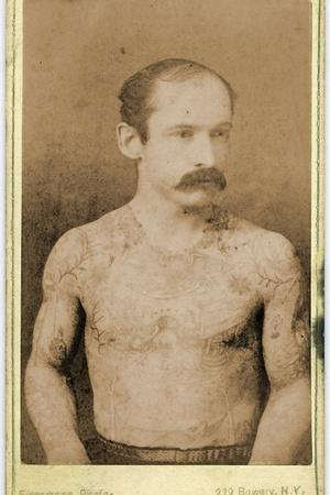 Cabinet Card of a Tattooed Man, C.1899