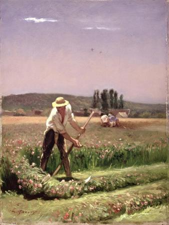 A Peasant, Mowing by Charles Emile Jacque