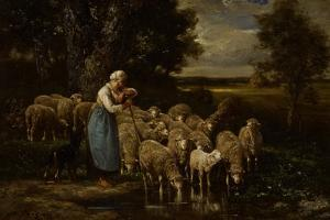 Shepherdess and Sheep, Fontainebleau by Charles Emile Jacque