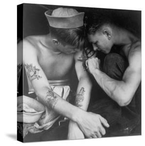 American Sailor Having Another Tattoo Done by Shipmate Aboard Battleship USS New Jersey During WWII by Charles Fenno Jacobs