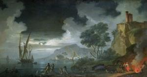 Evening, a Capriccio of a Moonlit Mediterranean Bay by Charles Francois Lacroix de Marseille