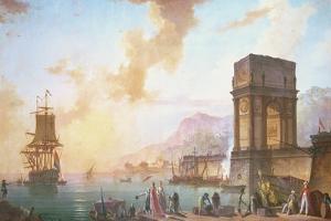 Morning, a Capriccio of a Mediterranean Port by Charles Francois Lacroix de Marseille