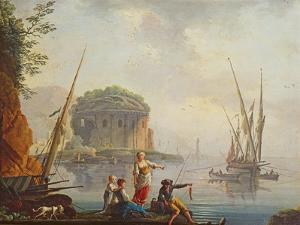 Seascape by Charles Francois Lacroix de Marseille