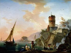 View of a Mediterranean Port by Charles Francois Lacroix de Marseille