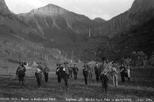 Telluride Band in Bridal Veil Park Ingram and Bridal Veil Falls, 1886 by Charles Goodman