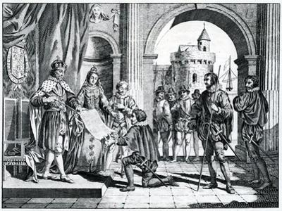 Christopher Columbus (1451-1506) Presenting an Account of His Discovery of America to the King and  by Charles Grignion