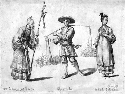 Three Chinese figures, 18th century