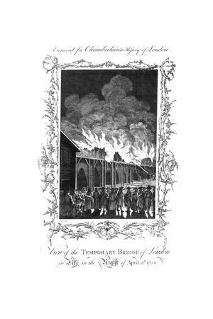 'View of the Temporary Bridge of London on Fire...1758.', c1770