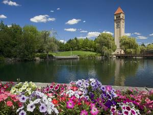 Clock Tower, Spokane River, Riverfront Park, Spokane, Washington, USA by Charles Gurche
