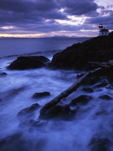 Lime Liln Lighthouse at dusk, Lime Liln State Park, San Juan Island, Washington, USA by Charles Gurche
