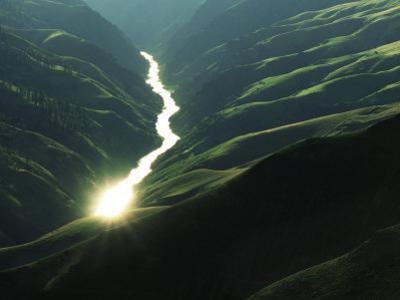 Sunlight reflects off the river, Salmon River, Idaho, USA