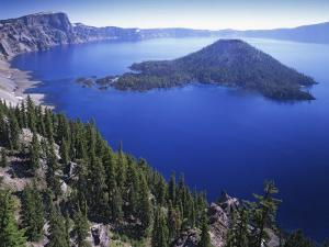 Wizard Island in Crater Lake, Crater Lake National Park, Oregon, USA by Charles Gurche