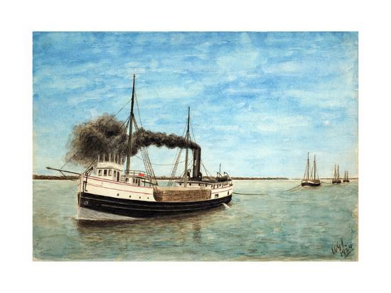 Charles H. Bradley Towing the Shawnee and Other Barges-William Gardham Larmour-Giclee Print