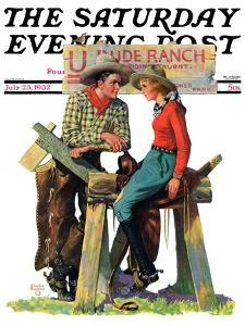 """Dude Ranchers,"" Saturday Evening Post Cover, July 23, 1932 by Charles Hargens"