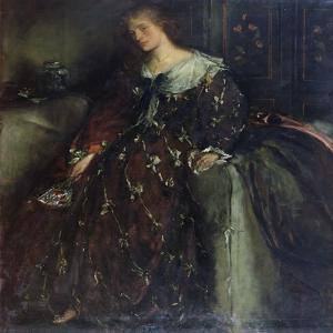 The Lady with the Green Fan, Portrait of Mrs Hacon by Charles Haslewood Shannon