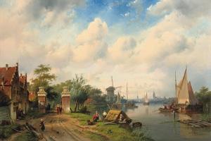 A River Landscape in Summer, 1853 by Charles Henri Joseph Leickert