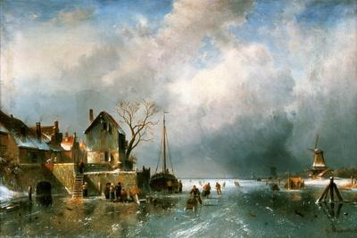 River scenery in winter with skaters