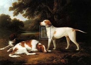 Pointer and Two Spaniels in a Park by Charles Henry Schwanfelder
