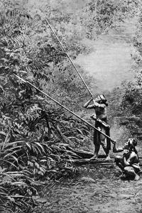 Kenyah Men Hunting for Monkeys with Blowpipes, Borneo, 1922 by Charles Hose