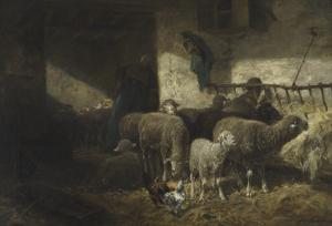 La petite bergerie, paysanne arrangeant les râteliers by Charles Jacque