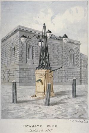 Newgate Pump, Old Bailey with Newgate Prison in the Background, City of London, 1815