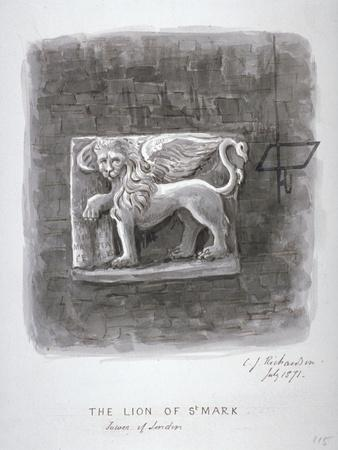 The Lion of St Mark, Tower of London, 1871