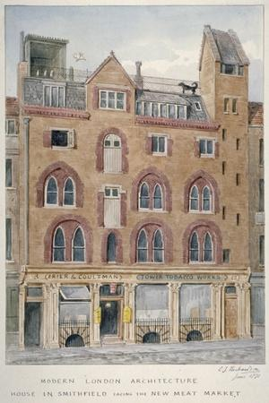 View of a House in West Smithfield Facing the Meat Market, City of London, 1871