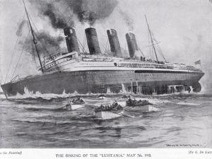 The Sinking of the Lusitania, May 7, 1915 by Charles John De Lacy