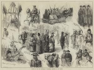 Opening of the New Townhall at Bradford, Sketches in the Streets by Charles Joseph Staniland