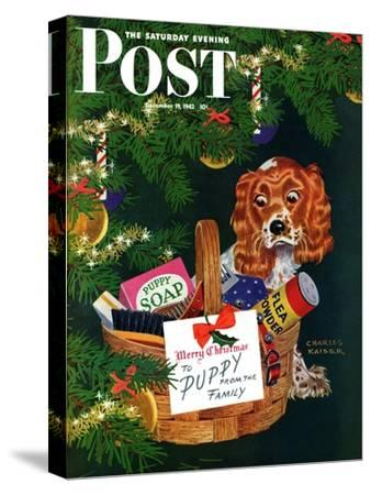 """""""Doggy Basket,"""" Saturday Evening Post Cover, December 19, 1942"""