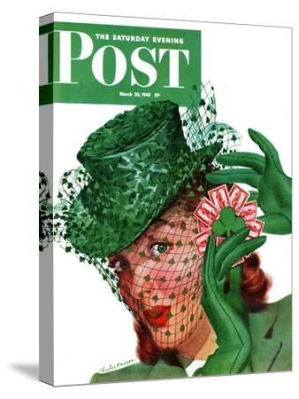 """""""Shamrock Chapeau,"""" Saturday Evening Post Cover, March 20, 1943"""