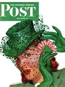 """""""Shamrock Chapeau,"""" Saturday Evening Post Cover, March 20, 1943 by Charles Kaiser"""