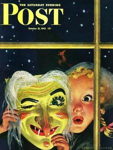 """Witch's Mask,"" Saturday Evening Post Cover, October 31, 1942 by Charles Kaiser"