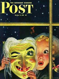 """""""Witch's Mask,"""" Saturday Evening Post Cover, October 31, 1942 by Charles Kaiser"""