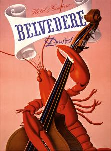 Davos, Switzerland - Grand Hotel & Casino Belvédère - Lobster Musician playing a Cello by Charles Kuhn