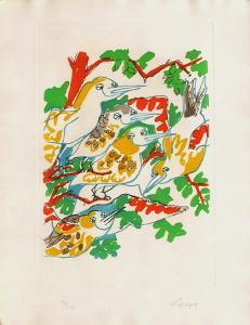 B - Oiseaux dans le feuillage II by Charles Lapicque