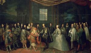 Entrevue de Louis XIV et de Philippe IV dans l'île des Faisans, le 7 juin 1660 by Charles Le Brun