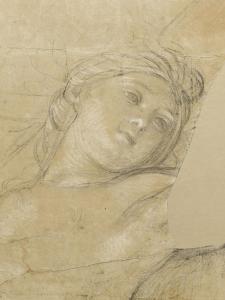 Femme ailée, couchée sur des nuages by Charles Le Brun