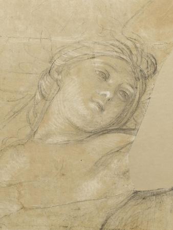 Femme ailée, couchée sur des nuages